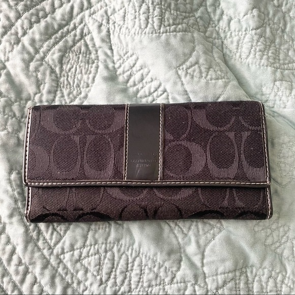 Coach Black Signature Fabric & Leather Wallet